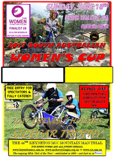 2017 South Australian Women's Cup & Diener/Holmes Sidecar Trophy - A Different Look In 2017?
