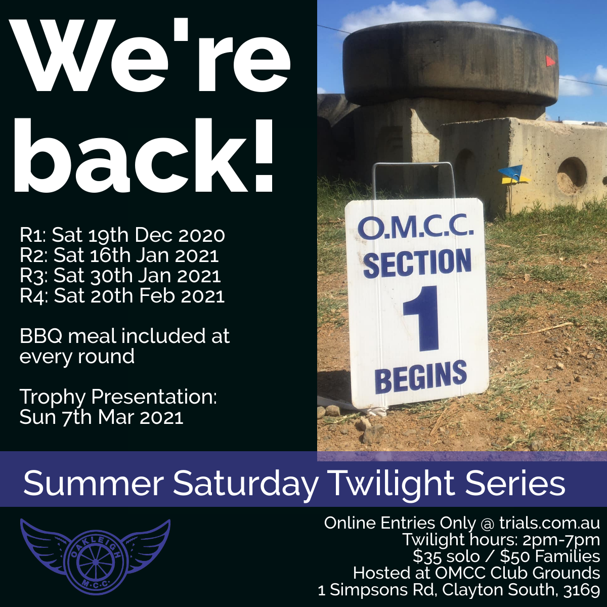 Results for OMCC Round 1 - Summer Saturday Twilight Series
