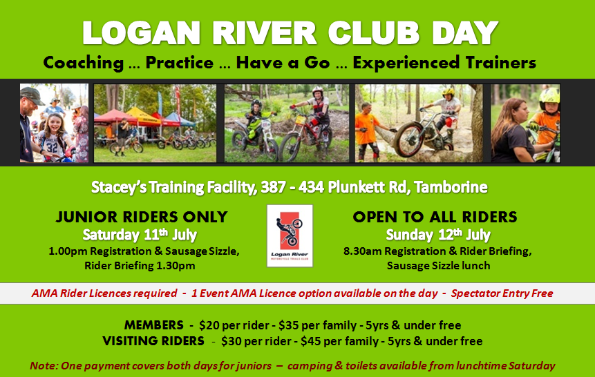 Logan River Trials Club 'Have a Go ... Practice ... Coaching' sessions